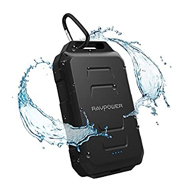 Portable Charger, RAVPower 10050mAh Outdoor External Battery Pack Waterproof Dustproof and Shockproof Rugged Power Bank Charger Built-in Flashlight; iSmart Technology - Black