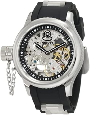 Invicta Men's 1843 Russian Diver Lefty Mechanical Silver Tone Skeleton Dial Black Polyurethane Watch
