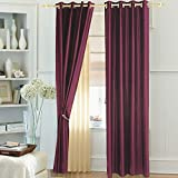 Window Curtain Polyester (1 curtain), 4 x 5 ft, Magenta