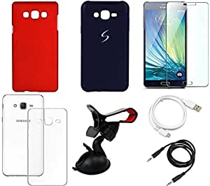 NIROSHA Tempered Glass Screen Guard Cover Case USB Cable Mobile Holder car for Samsung Galaxy ON5 - Combo