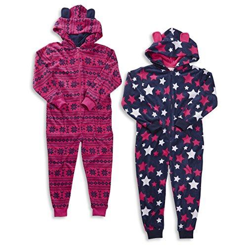 Kids Girls Fair Isle Star Hooded Onesie Micro Fleece Pyjamas With ...