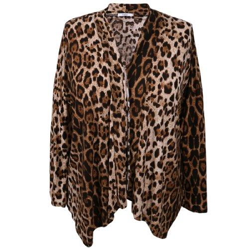 Дамы Плюс Размер Leopard Печатает Перед Открытием…