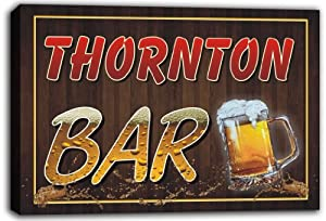 scw3-000347 THORNTON Name Home Bar Beer Mugs Stretched Canvas Print Sign