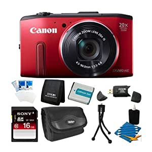 Canon PowerShot SX280 HS 12.1 MP CMOS Digital Camera with 20x Image Stabilized Zoom 25mm Wide-Angle Lens and 1080p Full-HD Video (Red) Super Bundle- Includes camera, 16 GB SDHC Memory Card, BP-6L Battery Pack, Carrying Case, SD USB Card Reader, Mini Tab