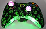 Xbox 360 Wireless Lighted Thumbstick and Botom Trim Call of Duty Ghost Green Controller + FREE Pouch Case