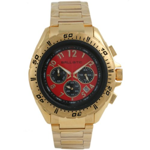 Ballistic Gents Chrono Red Dial Gold Bracelet Watch