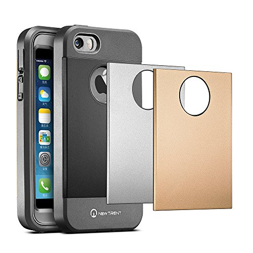 iPhone 5S Case, iPhone 5 Case, New Trent Trentium [Heavy Duty] [Ultra-Slim] Full-Body Rugged [Water resistant/Dirt/Shockproof Case] for Apple iPhone 5S/5 only with [Built-in Screen Protector](Black/Silver/Gold Interchangeable Back Plate Included)