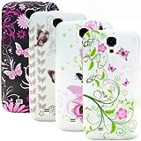 zkiosk 631 Blumen Schmetterling Design Auswahl 7 Silikon Schutzhülle für Samsung Galaxy S4 i9500  (4-er Pack) pink/rot/weiß/bronze/schwarz