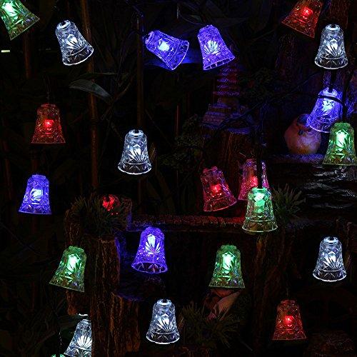 Thefancy™Solar Powered 6.5M 30 LED Bell Shape Multi-Color String Light ,Christmas String Light for Wedding/ Party / Garden /Festival Indoor or Outdoor Decoration Landscape lights