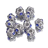 Gem 5mm Hole Blue Diamond Bling Jewellery Alloy Spacer Loose Beads Fit Charms Bracelet -Compatible with Pandora Chamilia Troll Biagi Tedora