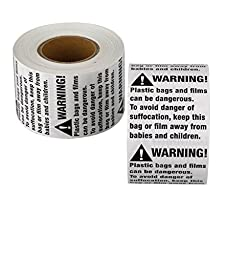 Suffocation Warning Labels - 1000 Plastic Bag Suffocation Stickers (2\