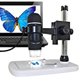 MAOZUA 5MP 20x-300x Optical Zoom USB Microscope with Professional Base Stand for Windows, Mac, Vista with 8 LED Lights