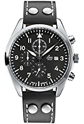 Laco/1925 Quartz Stainless Steel and Black Leather Casual Watch (Model: 861915)