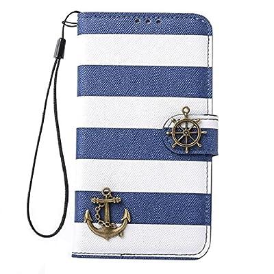 Towallmark(TM)Stripes Anchor Rudder Wallet Flip Case Cover For Samsung Galaxy S5 i9600 by towallmark
