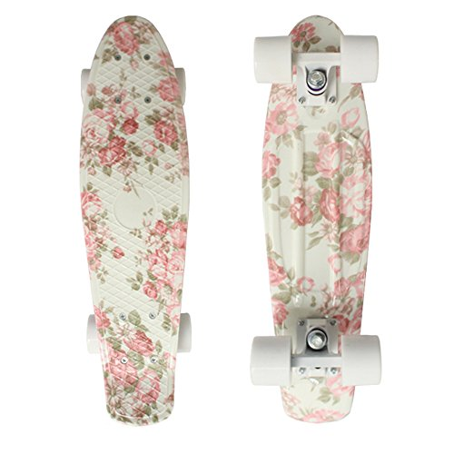 Cheap Focus Boards 22 Inch Penny Style Skateboard Complete Pink Floral Print