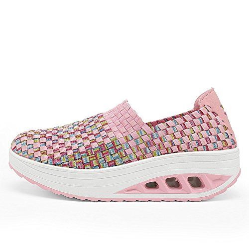 T-JULY Women Breathable Light Slip-on Casual Waven Shake Sneakers Cosy Anti-slip Wedge Platform Loafers Running Shoes Pink 7 M US (Light Pink Roshe Run compare prices)