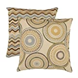 Pillow Perfect Riley and Wave 18-Inch Throw Pillows, Breeze, Set of 2