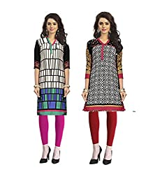 Vaamsi Women's PolyCotton Unstitched 2 Kurti Fabric(CKF1037_Multi-Coloured_Free Size)