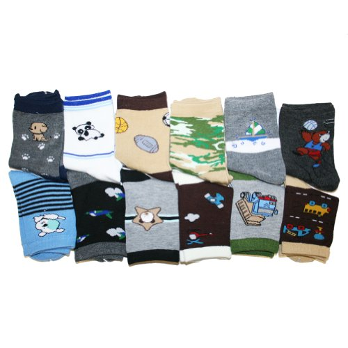 Kids Assorted Designs Crew Socks, 12 Pairs Per Pack. Boy Colors #357_Small
