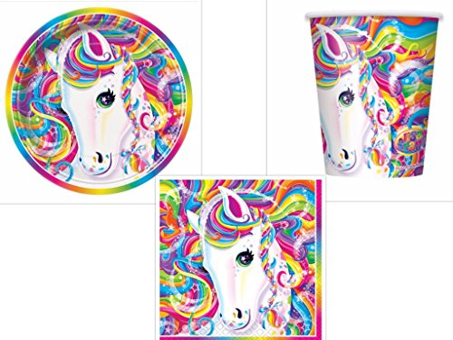 Lisa Frank Rainbow Majesty Unicorn Party Pack Plates, Napkins, Cups 16 Guests