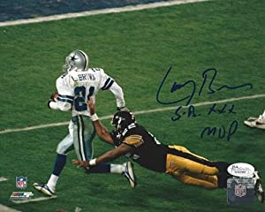 Larry Brown Signed Dallas Cowboys 8x10 NFL Photo with SB XXX MVP Inscription JSA -... by Sports Memorabilia