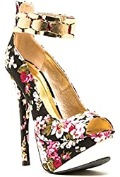 Qupid Count-76 Black Floral Peep Toe Heels with Gold Band