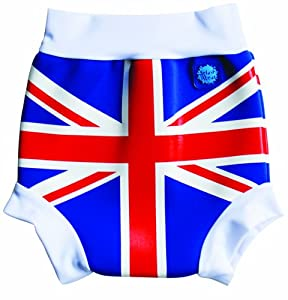 Splash About Kids Reusable Swim Nappy - THE Happy Nappy - Union Jack Print, Large, 6-14 Months (Old Version)