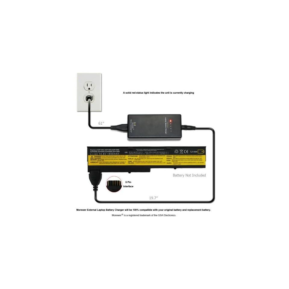 Top Morewer External Laptop Battery Charger for IBM ThinkPad X40 Series (machine type 2371 2372 2382/2386)ThinkPad X41 X41 1864 X41 1865 X41 2525 X41 2526 X41 2527 X41 2528 Series Battery Charger [Compatible 14.8V and 14.4V 5 Pin IBM ThinkPad Battery]