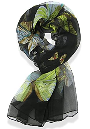 A168® Ladies/Womens 100% Silk Butterfly Pattern Scarf Available in Red Blue Green Ivory Purple (Black)