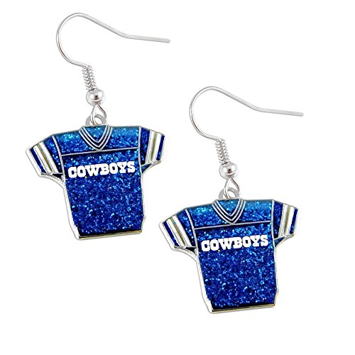 NFL Dallas Cowboys Women's Jersey Dangle Glitter Earring Set, One Size, Multicolor