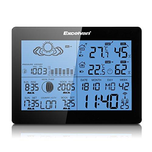 Excelvan Wireless Colore Stazione Meteo con le Previsioni, Temperatura, Umidità Display Digitale, Alba/Tramonto, Orario