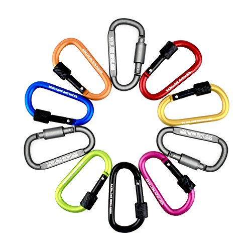 D Ring Locking Carabiner Keychain ,Northern Brothers Aluminum Spring Clip Carrying Gear Lock Buckle Key Holders Hook Outdoor Camping Equipment 10 Pieces (Adhesive D Ring compare prices)