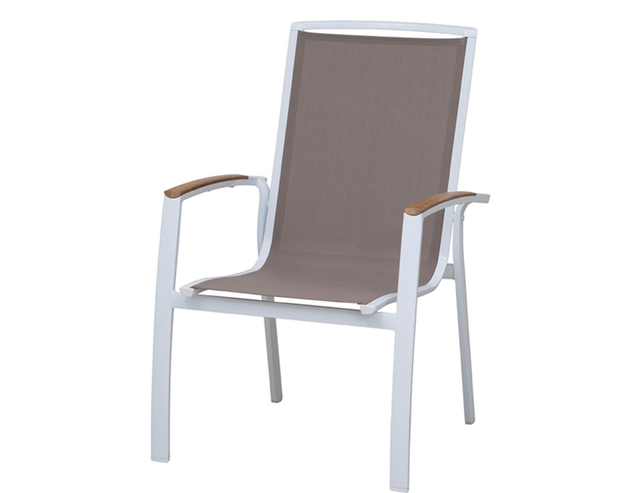 Siena Garden GFA-COC-001447 Stapelsessel Lindos, 68 x 65,5 x 100,5 cm , Aluminiumgestell weiß, Ranotex Textilfaser taupe
