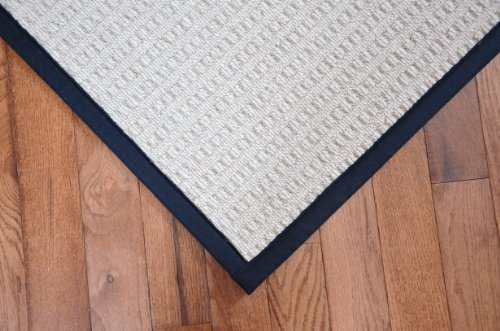 Melrose Linen 5' x 8' Wool Area Rug with Black Binding