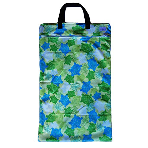 Ecoable Hanging Waterproof Wet/Dry Pail Bag For Cloth Diapers Or Laundry, Turtle, Large