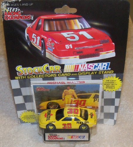 NASCAR #30 Michael Waltrip Pennzoil Racing Team Stock Car With Driver's Collectors Card And Display Stand. Racing Champions Black Background 51 Car - 1