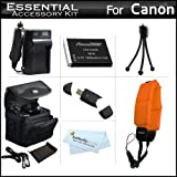 Essential Accessory Kit For Canon PowerShot D10, D20, D30 Waterproof Digital Camera Includes Extended (1200Mah) Replacement NB-6L Battery + Ac/ D/c Travel Charger + Floating Strap + Deluxe Case + USB 2.0 SD Reader + Mini Tripod + MicroFiber Cleaning Cloth