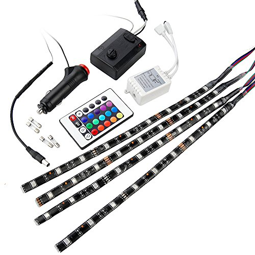 4Pcs Of 5050 Smd 9 Sound-Activated Led Lighting Strips + 16-Color Changing Remote Control + Module + Car Charger