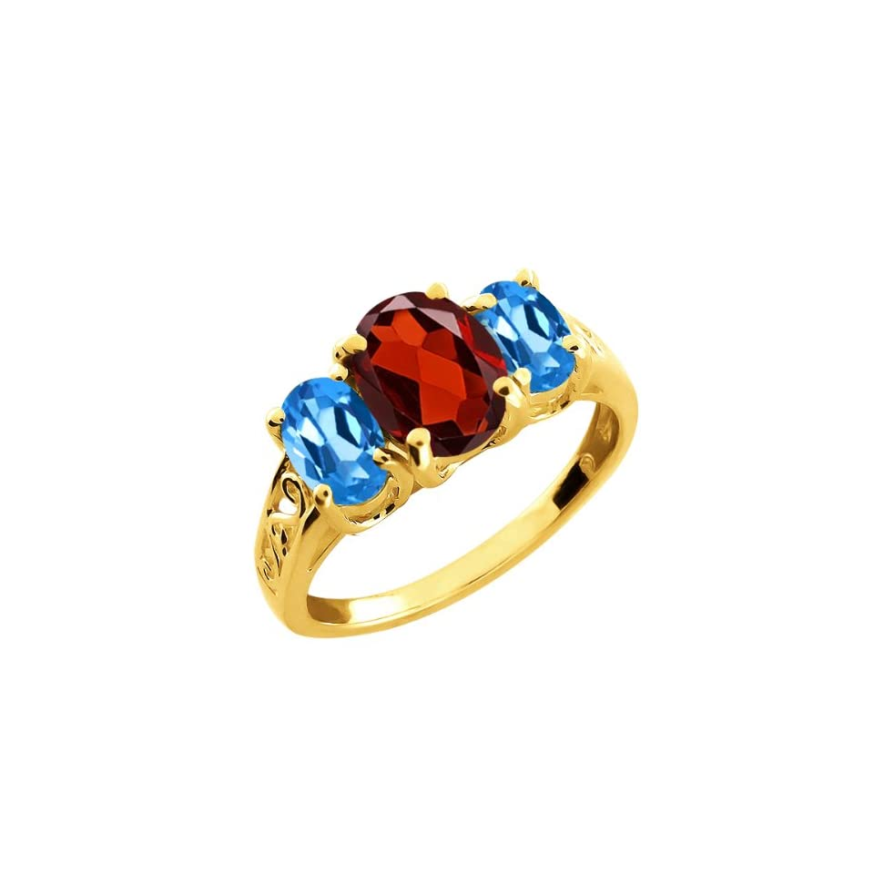 2.50 Ct Oval Red Garnet and London Blue Topaz 10k Yellow Gold Ring