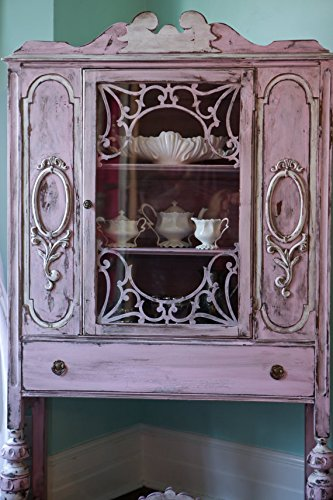 Antique China Cabinet Shabby Chic Pink Distressed Cottage Prairie 2
