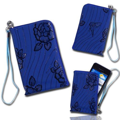 Handy Tasche Hülle Etui blau / schwarz U1 für Samsung Galaxy S4 Mini i9190 - i9195 / Samsung Galaxy S2 Plus i9105P / Nokia Lumia 520 / Sony Xperia Acro S / Sony Xperia Neo L / Blackberry Q5 / Alcatel One Touch 992D / Samsung Galaxy ACE 3 - S7270 / Sony Xperia M