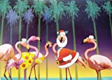 Flamingo in Santa Suit Tropical Beach Christmas Holiday Boxed Greeting Cards