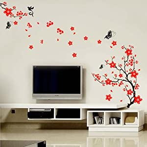Walplus Stylish Cherry Plum Blossom Flowers and Butterflies Wall Stickers Home/Room Decors Mural Art Decals from Walplus