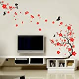 Stylish Cherry Plum Blossom Flowers Butterflies Wall Stickers Picture