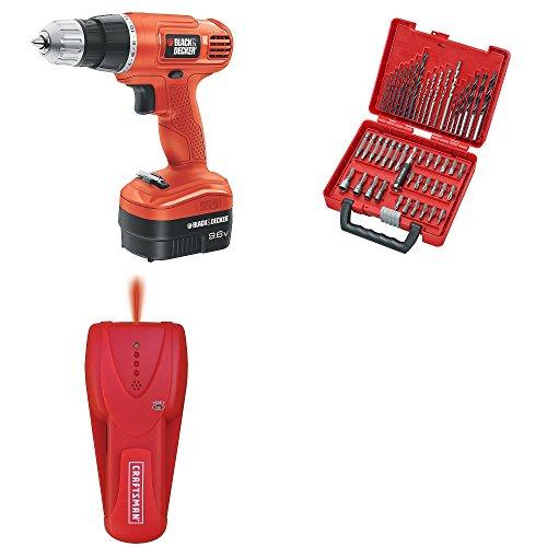 Craftsman | Best Craftsman - Black & Decker Bundle for Construction | 9.6 Volt Cordless Drill | 50 Pc Drill & Driver Bit Set | Guaranteed | Stud Finder | Top Rated - #1 Seller | Home Improvement