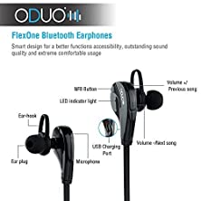 buy Oduo Flexone 2Nd Version - Bluetooth 4.0 Headset - Wireless Bluetooth Earphones. Wall Charger And Carrying Case Included. Flexone Bluetooth Earbuds