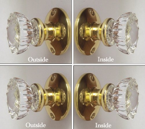 Two Sets - Perfect Reproduction of the 1920 Depression Crystal Glass FRENCH DOOR Knob Sets - Each lot contains all the hardware for knobs on both sides of Two French Door.