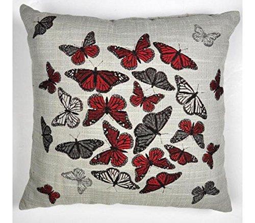 """Butterfly, cuscino farfalla, colore: rosso, Foglia di tè, colore: verde, colore: marrone naturale, 43,18 cm (17"""") 43,18 cm x 45,72 cm per (17-Perfectly (18 x 45,72 cm (18"""") .. inserti., 100 % poliestere, Alma Red, 17"""" x 17"""" - Perfectly fits 18"""" x 18"""" Inserts"""