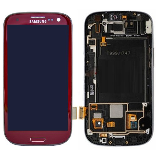 Compatible With Galaxy S3 T999 I747 Lcd + Touch Screen Digitizer With Frame - Red - Grade C - Allrepairparts Usa Seller