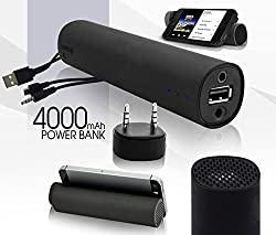 AE (TM)3 in 1 Power Bank with Speaker Mobile Stand 4000MAH Power Bank with In-Built 3W Mini Speakers and Stand Holder Charger External Battery Chargers for iPhone 4 4s 5 5s 5c, Samsung Galaxy I, II, III, IV V, Samsung Note 1, 2, 3, HTC One, M8 and other Android Smartphones